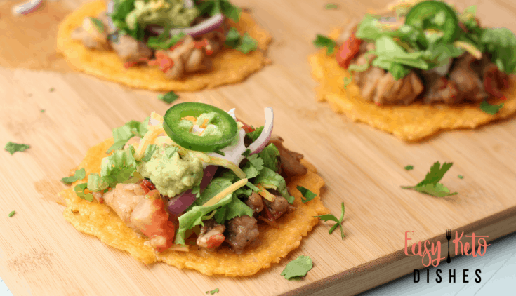 Cheesy Chicken Tostadas-low carb, keto friendly