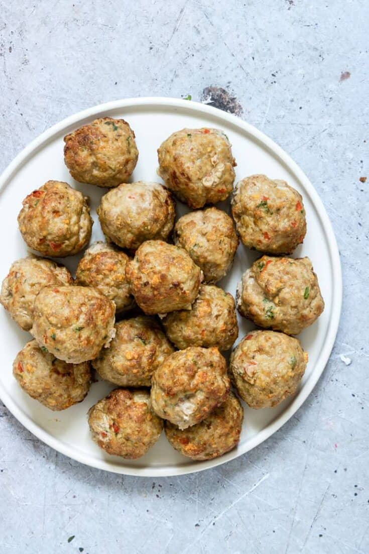 Air Fryer Turkey Meatballs + Meal Prep {Gluten-Free, Low Carb, Paleo, Keto}