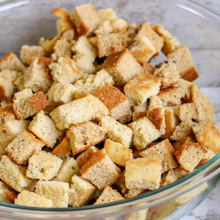 A bowl of food, with Cornbread and Stuffing