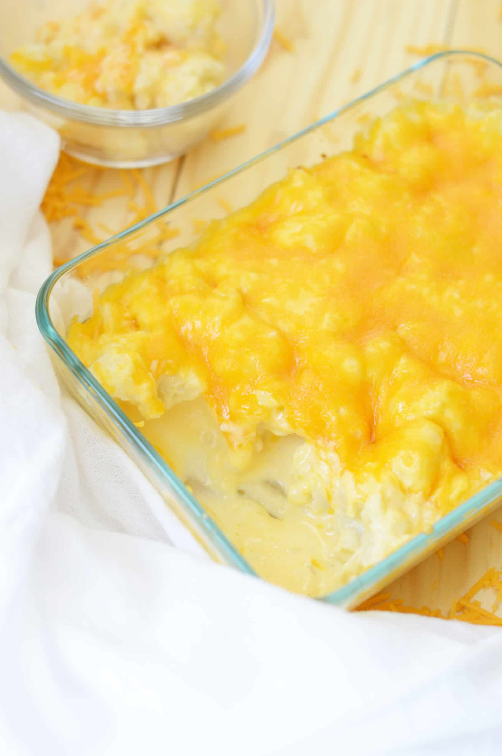 A dish filled with Mac and cheese