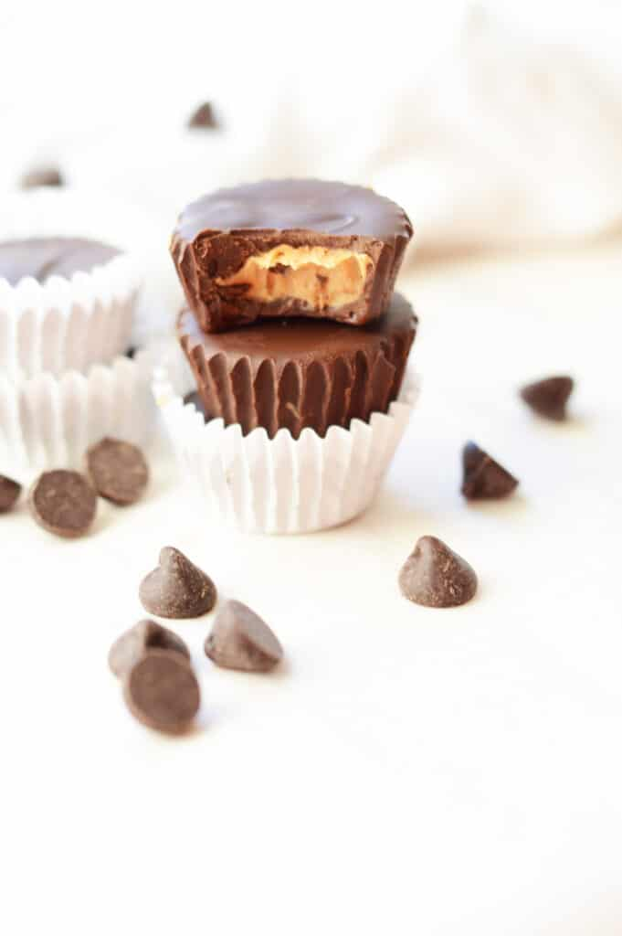Keto peanut butter cups on a table