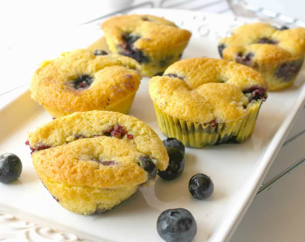 Food on a table, with Muffin and Blueberry