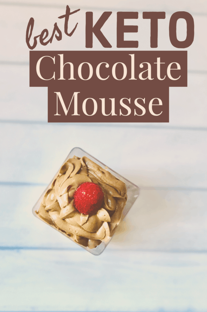 Mousse in square bowl on table
