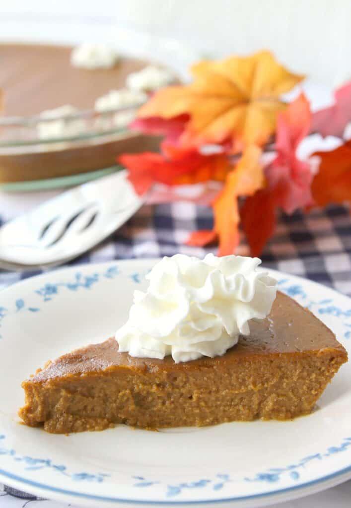 Keto pumpkin pie on white plate