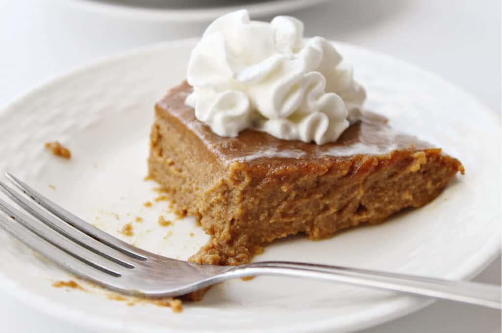 bite taken out of keto pumpkin pie