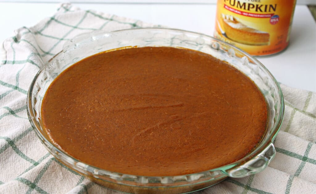baking dish filled with pumpkin pie